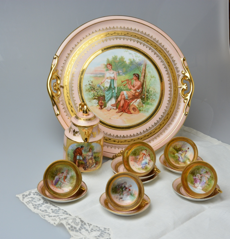 Auction Id - 195205 Antique VIENNA PORCELAIN Coffee Set 19th Century Austria