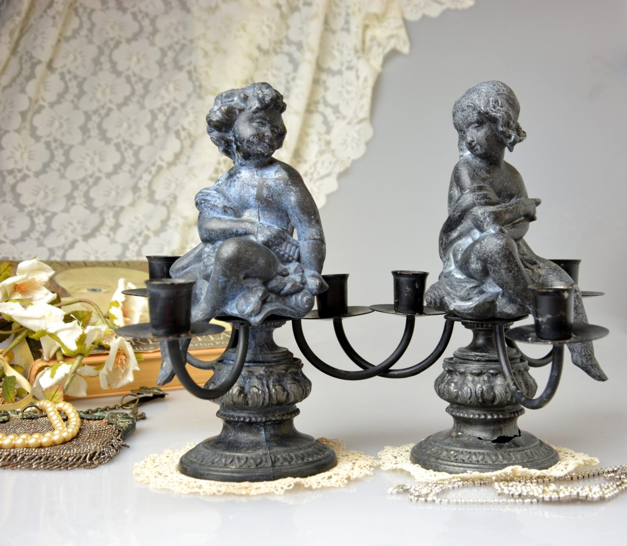 Auction id 233503 Iron Candelabras in Victorian Style Cottage French Chic Metal Candle Holder with Boy & Girl Figurine Shabby Chic Romantic Home Decor