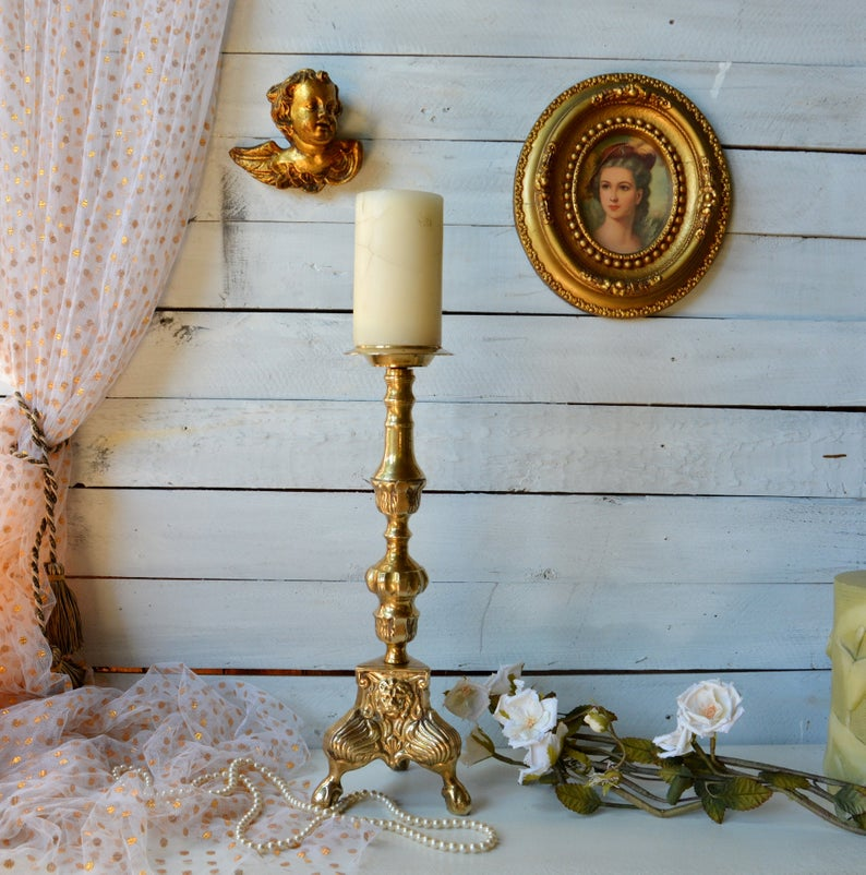 Auction ID 299695 - Vintage Ornate Brass Candle Holder Tall Victorian Style Brass Altar Candlestick Collectible Baroque Lion Pedestal Brass Gothic Torchere